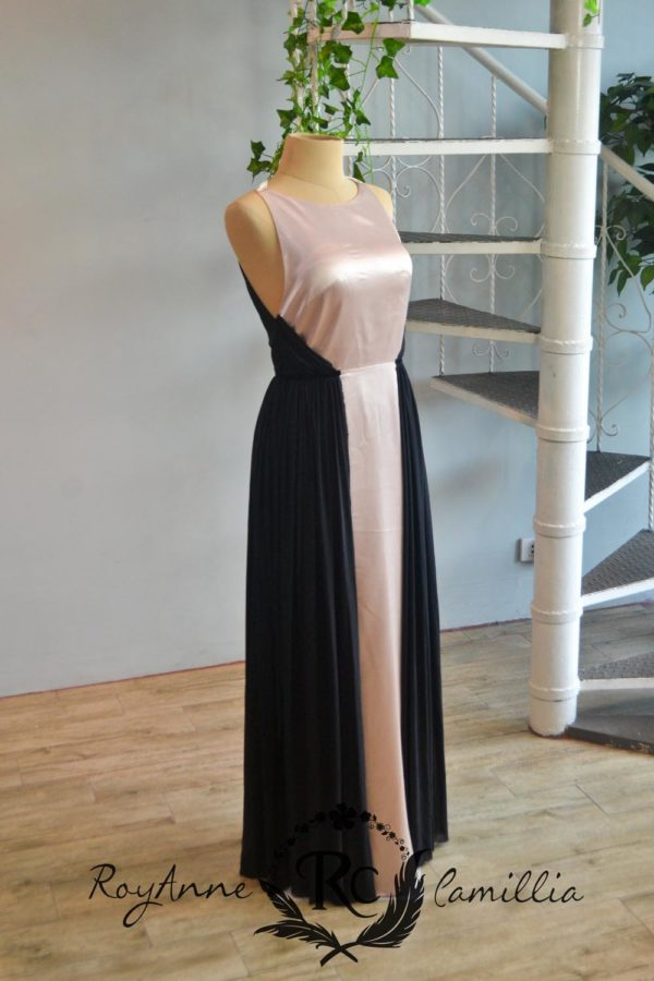 black and beige rental gown by royanne camillia couture manila
