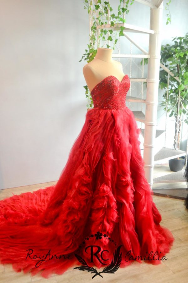 red rental gown ruffled skirt by royanne camillia couture manila