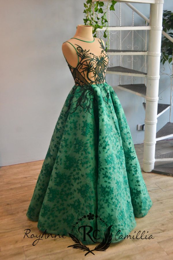 green rental gown by royanne camillia couture manila